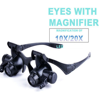 Magnifying Glasses Resin Lupa 10X 20X Eye Jewelry Watch Repair Magnifier Reading Glasses With 2 LED Lights New Loupe Microscope