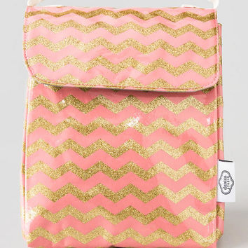 Pink & Gold Glitter Chevron Lunch Bag