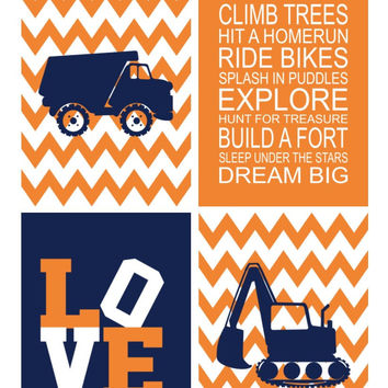 Construction Nursery Art Print Set of 4 - Baby Boy Chevron Navy Blue Orange - Multiple Sizes