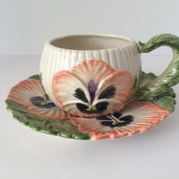Pansy Cup and Saucer, Fitz and Floyd, Ceramic, Orange and Green, Mother's Day Teacup, Hand Painted, Small Pansy Planter, Vintage Fitz Floyd