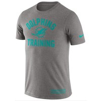Best Deal Online MEN'S MIAMI DOLPHINS NIKE HEATHERED GRAY TRAINING PERFORMANCE T-SHIRT