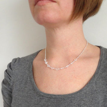 Sparkly chain necklace clear glass beads minimalist short necklace