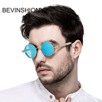 Vintage Classic Spring Legs Steampunk Round Sunglasses Men Metal Frame Rose Gold Pink Mirror Sun Glasses Women Retro Brand Punk