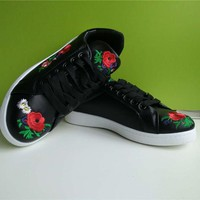 Autumn Shoes Women Zapatos Trainers Injection Flat Embroider PU Sneakers