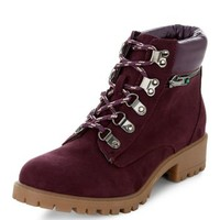 Teens Dark Purple Lace Up Boots