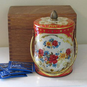 Vintage Murray Allen Floral Tin | made in England | lidded tin | red roses | boho style | desk accessories | cottage chic | kitchen storage