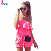 Gagaopt  Women Rompers and Jumpsuit Sexy Strapless Fashion Solid Candy Color Summer Shorts