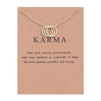 Karma Gold-color Three Circle Necklace