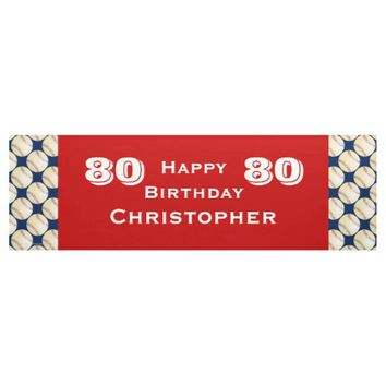 80th Birthday Party Baseball Banner, Adult Banner