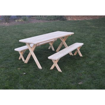 "A & L Furniture Co. Pressure Treated Pine 8' Cross-leg Table w/2 Benches - Specify for FREE 2"" Umbrella Hole  - Ships FREE in 5-7 Business days"