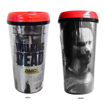 The Walking Dead OFFICIAL Rick Grimes #TeamRick PREMIUM Travel Coffee Mug, 16oz