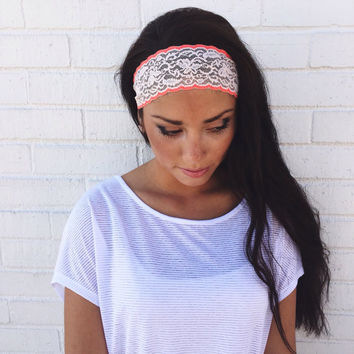 Yoga Headband in Light Pink and Bright Coral