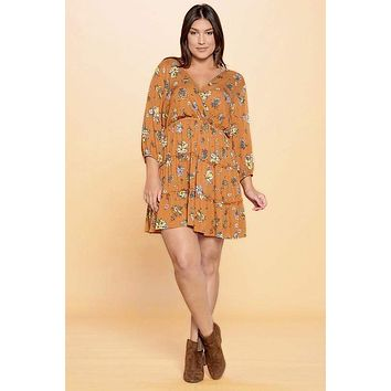 Joan Floral Tiered Wrap Midi