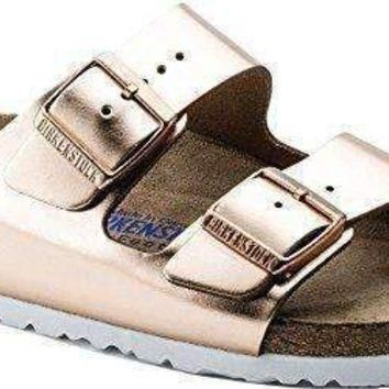 Birkenstock Arizona White Copper Soft Footbed Leather Sandal 36 R (Us Women's 5-5.5)