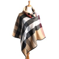 Lana Cashmere Oversized Sweater Plaid Knit Poncho