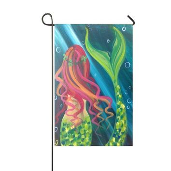 COCOBE Holiday Decor Outdoor House Flag- Green Diamond Tail Beautiful Girl Mermaid 12.5x18 Inch Double Sided Garden Flag
