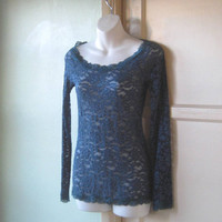 Dark Blue Lacy Tunic with Teal Neckline; Medium-Small - Sexy, Lacy Tunic - Cobalt Layering Tunic for Date Night, Romantic Occasion