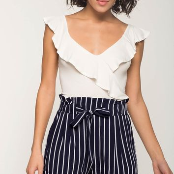 Stripe Paper Bag Waist Shorts