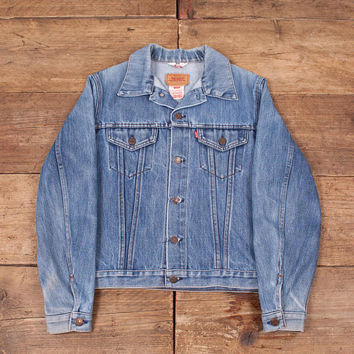 "Mens Vintage Levis Red Tab 70500 Blue Denim Trucker Jacket Medium 40"" R5999"