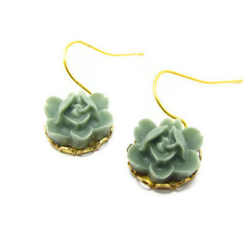 Bridesmaids Floral Earrings, resin flower, gold plated settings