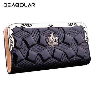 Fashion Long Crown Leather Wallet Female Brand Clutch Coin Purse Lady Girl Card&ID Holder Money Bag with Phone Pocket for Momen