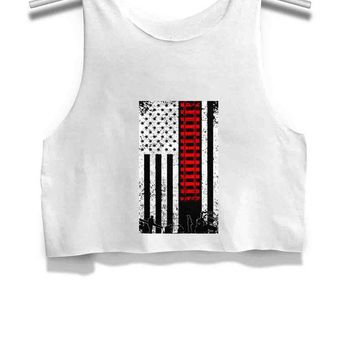 ICIK7H3 Rail Railroad Away Usa Flag Womens Crop Tank Top