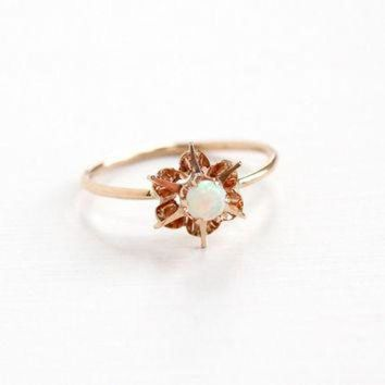 Antique 10k Rose Gold Opal Ring - Edwardian Round Colorful Gem Size 3 1/2 Stick Pin C - Beauty Ticks