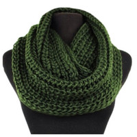 Classic Thick Crochet Olive Green Chunky Infinity Scarf