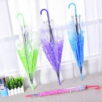 Beautiful Sakura Clear Transparent Rain Umbrella PVC Rain  Wedding Party Umbrellas Long Handle Straight Stick Umbrella