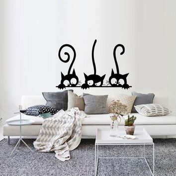 Three Funny Cats Animal Wall Sticker Household Room PVC Window Decals Mural DIY Decoration Removable 3D Wall Stickers Home Decor