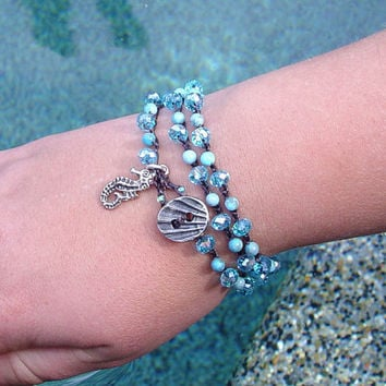 Crochet Beachy Boho Bracelet, Aquamarine Czech Crystals, Howlite, Seahorse, Triple Wrap, Gifts for her, Mothers Day, Gifts under 40