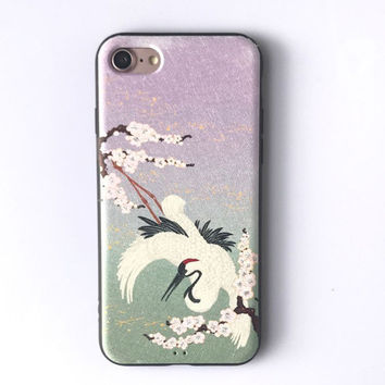 Soft Silk Print White Crane Coque For iphone 7 Case Cute Cartoon Phone Cases For iphone 7 6 6s Plus Back Cover Funda Newest -0327