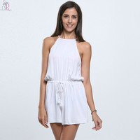 White Sleeveless Spaghetti Strap Romper Playsuit Loose Casual Beach Cut out Back Beachwear 2016 Women Summer