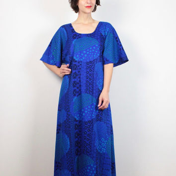 Vintage 70s Caftan Royal Cobalt Blue Abstract Print Op Art Mod Hippie Dress 1970s Dress Maxi Dress Kaftan Sundress Boho Festival M L XL OS