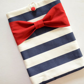 "Macbook Pro 13 Sleeve MAC Macbook 13"" inch Laptop Computer Case Cover Navy & White Stripe with Red Bow"