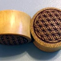 "Custom Handmade Organic ""Flower of Life"" Wood Plugs -- You choose wood type/color and size 2g - 30mm"