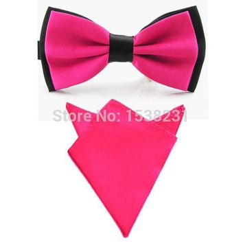 Men's Bow Ties Matching Color Pocket Square Set