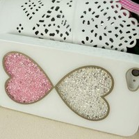 Double Hearts Dancing Diamond Cases for iPhone 4/4S