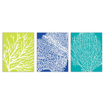 Underwater Sea Coral Collection (Series B) Set of 3 - 8x10 Art Prints (Nautical Beach Theme) Featured in Marine, Celery and Ocean Blue