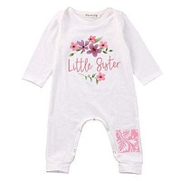 Newborn Infant Baby Boy Girl Long Sleeve Cotton Romper little sister Printing Jumpsuit Kids Clothes Outfit