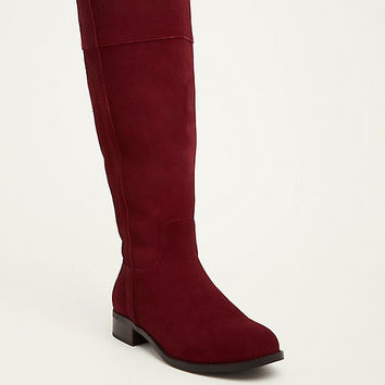 Genuine Suede Pull Tab Knee-High Boots (Wide Width & Wide Calf)