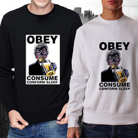 obey we sleep sunglasses sweater Black and White Sweatshirt Crewneck Men or Women Unisex Size