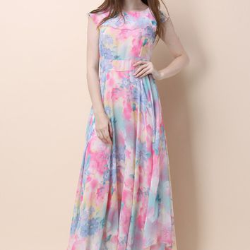 Flower Meadow Watercolor Maxi Dress
