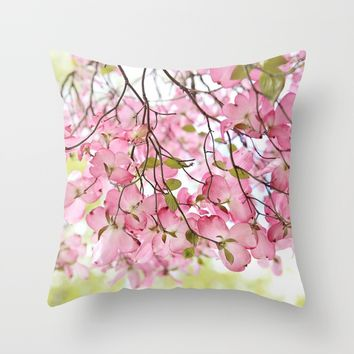 pink dogwoods Throw Pillow by Sylvia Cook Photography