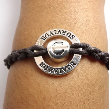 Personalized Karma Bracelet for Men & Women - Made in USA - Faux leather waxed cotton cord - valentine gift - birthday gift