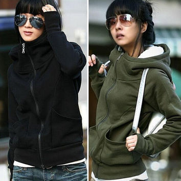 Women High Collar Hoodies Sweatshirt Coat Zipper Hooded Jacket Outerwear = 1929721732