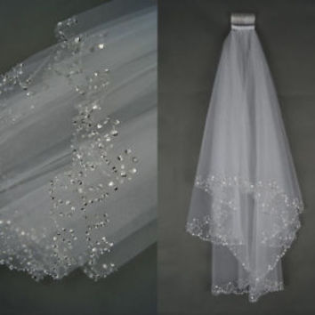 New Elbow Length Short Bridal Veil with Beads Bridal Accessory for Brides