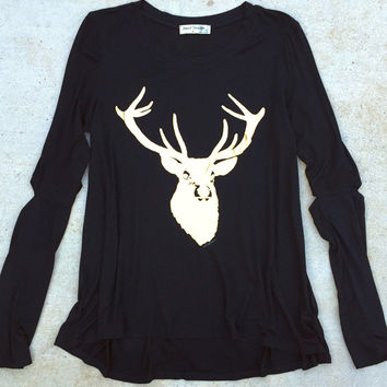 Black Gold Foil Reindeer Holiday Shirt