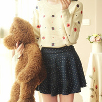 Floral Embroidery Long Sleeve Knitted Pullover