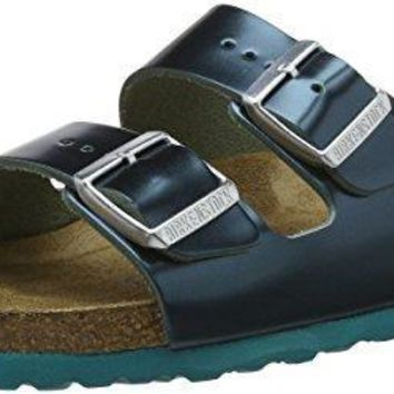 Birkenstock ARIZONA Ladies Leather Twin Buckle Sandals Metallic Green